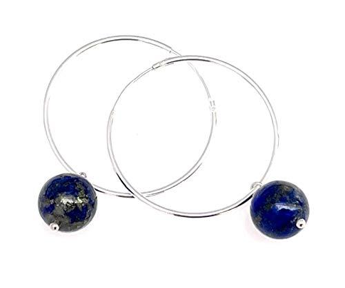 Blue lapis lazuli hoop earrings, 925 sterling silver, minimalist jewellery, dainty style, gemstone jewels, september birthstone gift for her