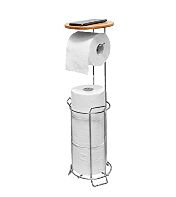 JackCubeDesign MK466A - Toilet Tissue Paper Holder Stand with Bamboo Shelf