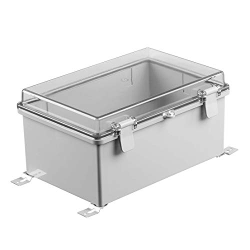 """Gratury Junction Box, Hinged Cover Transparent Lid IP65 Waterproof Plastic Enclosure for Electrical Project Included Internal Mounting Panel 290×190×140mm (11.4""""×7.5""""×5.5"""" TC)"""
