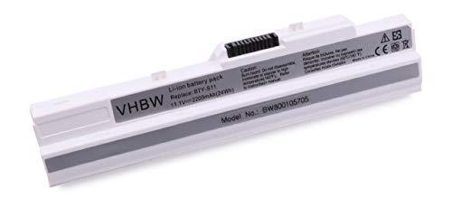 vhbw Li-Ion Akku 2200mAh (11.1V) weiß für Notebook Laptop Advent, Athec, LG, Belinea, Caspar, CMS, Datron, Medion, MSI wie BTY-S11, BTY-S12, BTY-S13.
