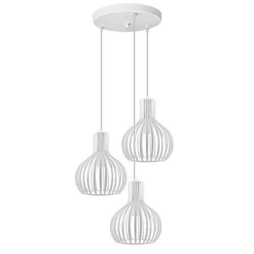 iDEGU 3-flammige Pendelleuchte Moderne Hängeleuchte Kronleuchter Käfig Hängelampe in Vasenform Metall Pendellampe für Schlafzimmer Wohnzimmer Esszimmer, Durchmesser 20 cm, Weiß