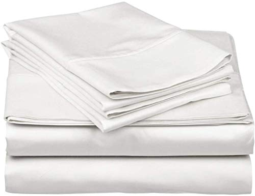 Nish & Joe 100% Cotton Bed Sheet, 300-Thread-Count Extra Long Staple, Luxurious Sateen Weave , 4-Pc Queen Sheet Set,Fits Mattress Upto 15''fit Deep Pockets, Fade & Stain Resistant - Queen, White