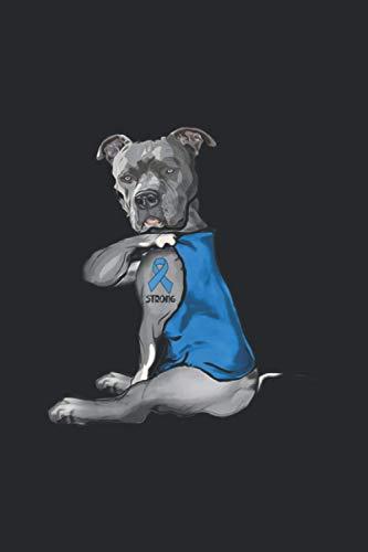Blue Pit bull Dog Tattoo Strong Prostate Cancer Awarenesss: Notebook Journal