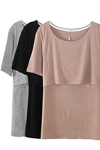 Smallshow 3 Pcs Maternity Nursing T-Shirt Modal Short Sleeve Nursing Tops Brown-Black-Grey,X-Large