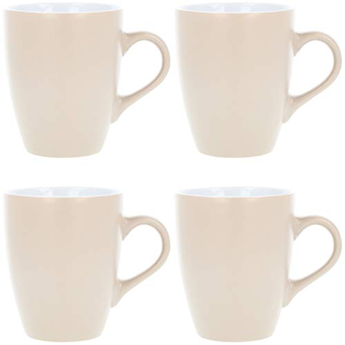 com-four® 4x Kaffeebecher aus Keramik - Kaffee-Tasse im modernem Design - Kaffeepott für Kalt- und Heißgetränke - 340 ml (4 Stück - hellbraun)