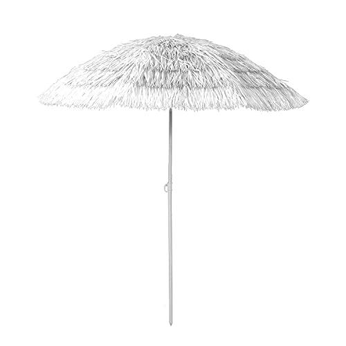 Mojawo Sombrilla hawaiana para playa o playa, parasol para jardín, de rafia, plegable, poliéster, color blanco, diámetro de 1,6 m