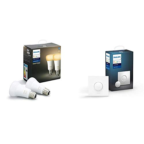 Philips Hue Pack de 2 Ampoules LED Connectées White Ambiance E27 Compatible Bluetooth, Fonctionne avec Alexa + Smart Button bouton télécommande intelligent connecté