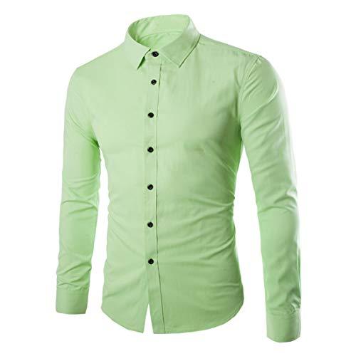 ZCZH Men's Shirts Mens Casual Plain Shirt Fashion Solid Color Dress Shirt Autumn Winter Party Prom Shirt Button Down Lapel Shirts Long Sleeve Classic Shirts Slim Fit Shirts Tops Work Shirt 4XL