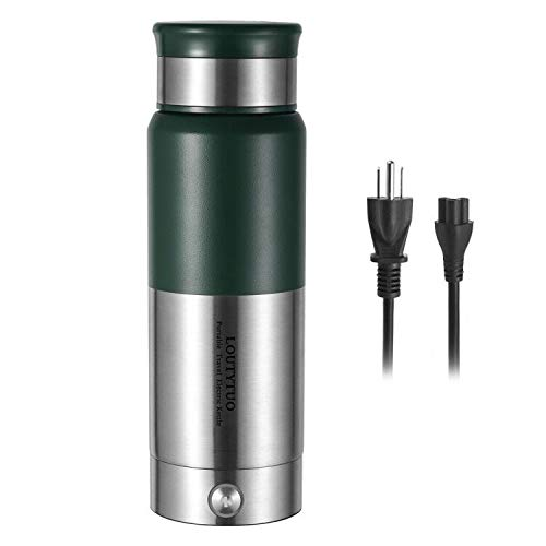 2 in 1 300ml/10 OZ Portable Travel Electric Kettle + Stainless Steel Vacuum Insulated Water Bottle 12 Hours Hot & Cold Drinks (Microboil, Double Wall, BPA Free, Leak Proof) (Green)
