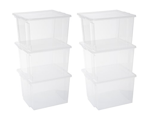 Iris Ohyama, 6er-Set stapelbare Aufbewahrungsboxen mit Deckel - Useful Storage Box USB-MP - plastik, transparent, 6 x 40 L, L42 x B36 x H26,5 cm