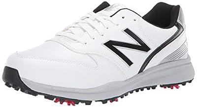 New Balance mens Sweeper Waterproof Spiked Comfort Golf Shoe, White/Black, 9.5 X-Wide US