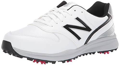 New Balance Men's Sweeper Waterproof Spiked Comfort Golf Shoe, White/Black, 8 D D US