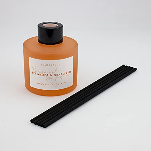 Lower Lodge Candles 100ml Bergamot & Grapefruit Luxury Scented Reed Diffuser - Lasts 8-12 Weeks