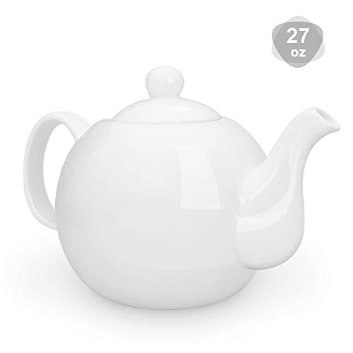 KitchenTour Porcelain Teapot 27 Ounce Fine Porcelain Serving Tea Pot with Upgraded Strainer Holes  White