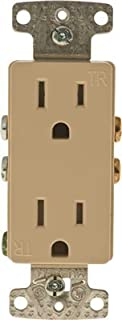 Hardware Express 606094 Decorator Receptacle Tamper Proof Self-Grounding 15A Ivory