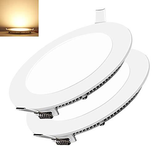 2 PCS 15W Luces de Techo Empotradas LED Redondas 1350LM Ultra Delgado 3000K Diámetro de Iluminación para Dormitorio Sala De Estar Oficina Pasillo
