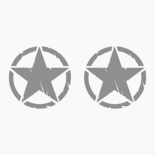Autodomy 4x4 Off Road Army Stern Militär Zerstört Military Star US Army Aufkleber Verschiedene Größen 10 cm 15 cm 20 cm Paket 2 Stück für Auto (Silber, 15 cm)