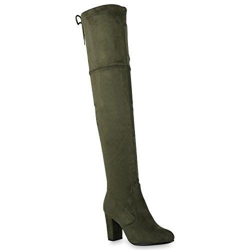 Damen Stiefel Overknees Wildleder-Optik Blockabsatz Langschaftstiefel Boots Schleifen Schuhe 128611 Dunkelgrün 37 Flandell