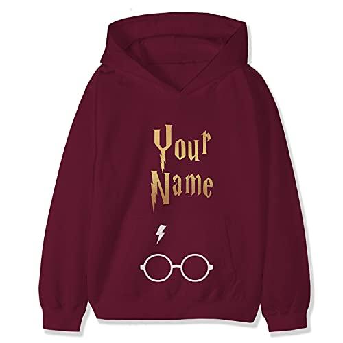 Sudadera con capucha de algodón personalizada para niños y adultos, con logo de Hogwarts y capucha, con detalle de nombre, granate, 9-11 Años