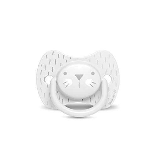 SUAVINEX Hygge Baby: Whiskers 306614 Chupete para Bebés con Tetina Fisiológica, 18 Meses +, Gris