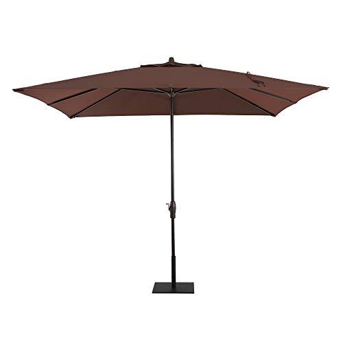 Patio Umbrella - Outdoor Patio - Deck Umbrella - Pool Umbrella - Sunbrella Patio Umbrella - 8' x 10' Rectangle - Market Umbrella - Aluminum Brown Coat - Cast Sable - by Royal Garden