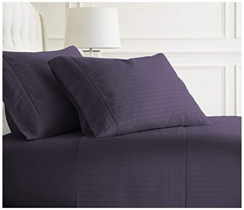 COTTONWALAS Today's Deals on Authentic Heavy Quality Bed Sheets King Size 1500-TC Egyptian Cotton Sheet Set King Size (76x80) Fits Mattress 24-26 Inch Fully Elastic Deep Pocket (Stripe, Purple)