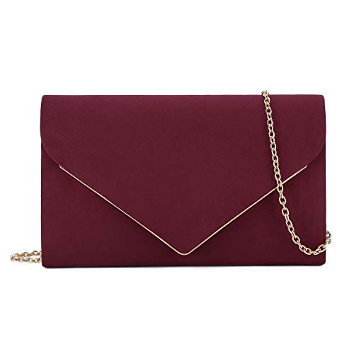 Charming Tailor Faux Suede Clutch Purse Elegant Metal Binding Evening Bag for Wedding/Prom/Black-tie Events (Burgundy)