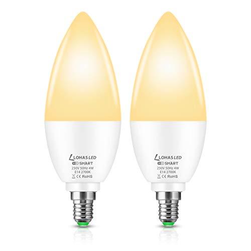 Lohas LED WiFi intelligente lampadina E14 lampadina a candela, compatibile con Google, ALEXA Home, 4W=50W WiFi lampadina LED, bianco caldo 2700K, controllo remoto da smartphone tramite App, 2 pezzi