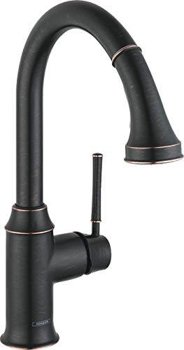 hansgrohe Talis C Premium 1-Handle 15-inch Tall Kitchen Faucet with Pull Down Sprayer with QuickClean Magnetic Docking Spray Head in Rubbed Bronze, 04215920