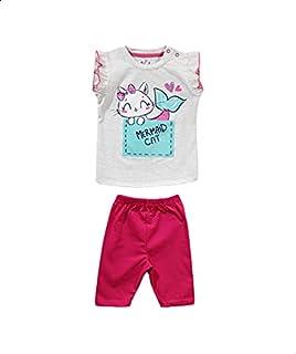 Jockey Printed Snap-Closure Ruffle-Sleeve T-shirt with Elastic-Waist Pants Pajama Set for Girls - Pink and Grey, 6-9 Months