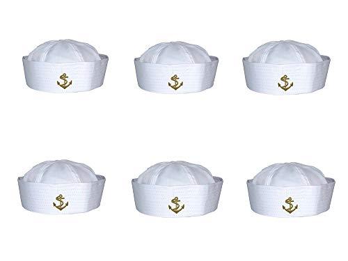 Gorra Marinera Capitán de Yate de Barco Sombrero Blanco de Moda para Cosplay (Pack 6 de HJ-508, Talla única)