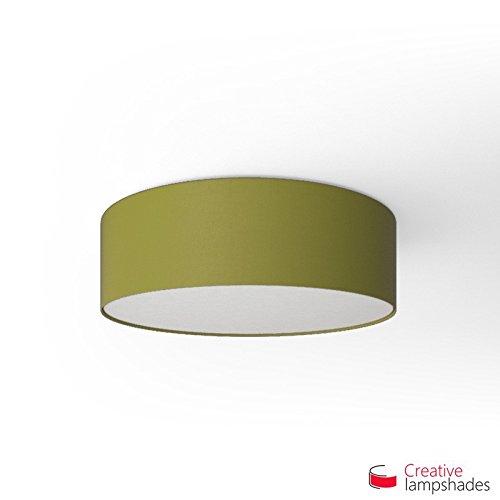 Creatieve lampenkappen Ronde plafondlamp met Olijfgroene Canvasbedekking Diameter 50cm - H. 15cm