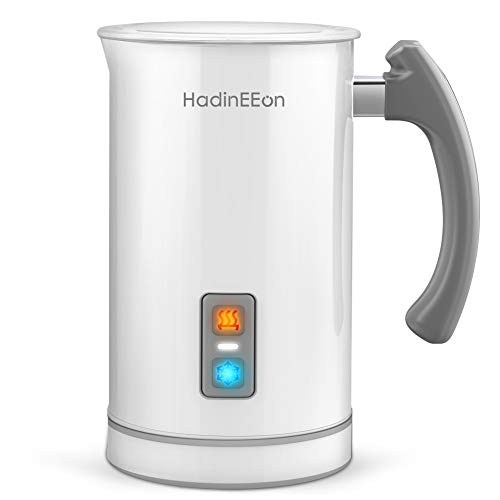 HadinEEon Milk Frother, 17.0oz/3.4oz Electric Milk Frother Steamer Stainless Steel Automatic Hot/Cold Milk Frother and Warmer for Coffee, Latte, Cappuccinos or Hot Chocolates, 650W 120V, White
