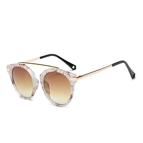 ZJMIYJ Occhiali da Sole,Occhiali Design Legno&Amp;Cornice Marmorea Pattern Round Specchiata Occhiali da Sole retrò Eleganti Occhiali da Femmina per Il Pilotaggio di Donne Occhiali Cornice Verde