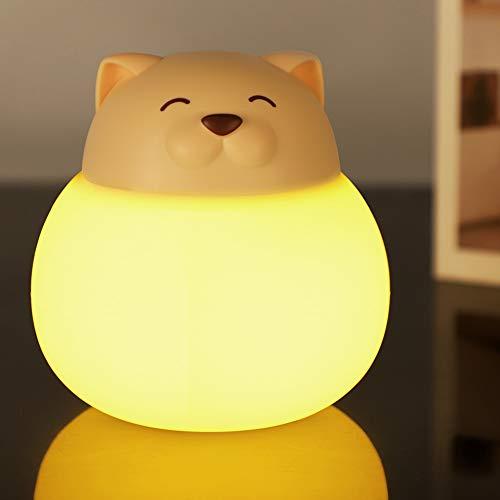 Opard Nachtlicht Kind, Baby Nachtlampe mit Touch Schalter,1h Timer Farbtemperatur 1800-6500K Touch Lampe, LED Nachtleuchte für Babyzimmer, Schlafzimmer, Wohnräume, Camping, Picknick (Beige-Katze)
