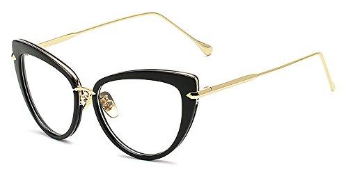 KINDOYO Herren Damen Retro Mode Brillen Unisex Cateye Klare Linse Brillen Klassische Sonnenbrille, Schwarz/Transparent
