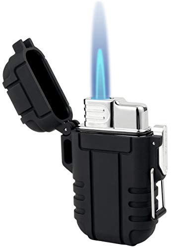 Takpre Torch Lighters, Refillable Mini Butane Lighter with Lock, Waterproof and Windproof Gas Lighter Adjustable Jet Flame Lighter for Camping Grill, Mens Gifts, Black(Without Butane)