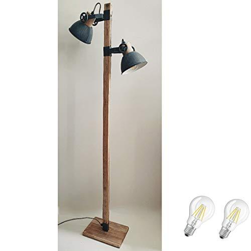 STEINHAUER 2666GR Strahler Retro Vintage Industrie Lampe Stehleuchte 2fl inkl. 7 Watt Filament Edison Vintage Led Lampe