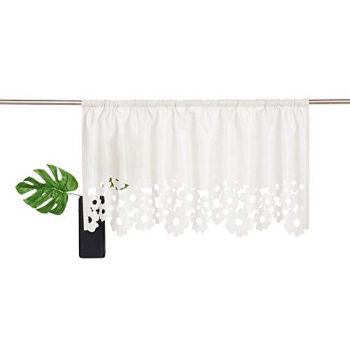 KOU-DECO Cortina de trabillas con flores cortadas a láser, 1 pieza, cortina de cocina, de seda sintética, con barra de paso, color blanco, 90 x 45 cm