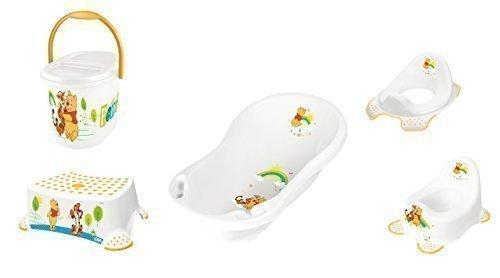 5er Set Winnie Pooh weiß Badewanne + Töpfchen + WC Aufsatz + Hocker + Windeleimer Neu