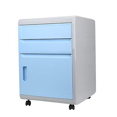 GFBVC Armario De La Unidad 3 Archivo Cajón móvil Tamaño del gabinete plástico balanceo Carta de Papel A4 Vertical for el hogar y la Oficina Firma (Color : Blue, Size : 42x41x59cm)