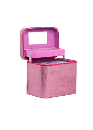 KUNSE 126 Ranuras Bordado Diamante Pintura Accesorios De Almacenamiento Bolsa Caja De Uñas Arco De Arte-Rosado