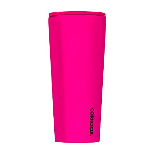Corkcicle 24oz Tumbler - Neon Lights Collection - Triple Insulated Stainless Steel Travel Mug, Neon Pink