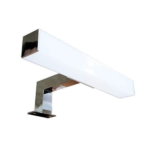Lampada da Specchio LED per Bagno ZEUS – 20 CM, 3W, 240LM, 220V, 4000K, ABS CROMATO, IP44 Classe II, non dimmerabile, Installazione a specchio o telaio, applique, Luce Calda