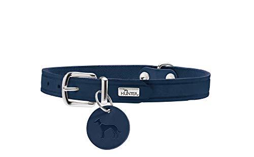 HUNTER AALBORG Hundehalsband, Leder, schlicht, robust, komfortabel, 60 (L), dunkelblau