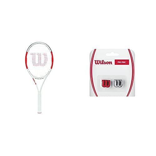 Wilson Raqueta De Tenis, Six.One Lite 102, Unisex + Pro Feel Antivibrador Raqueta-Unisex, Rojo/Plata, NS