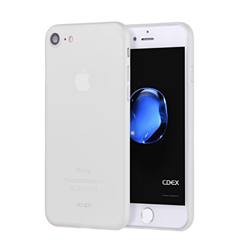 doupi UltraSlim Custodia per iPhone SE (2020) / iPhone 8/7 (4,7 Pollici), Satinato fine Piuma Facile Mat Semi Trasparente Cover, Bianco