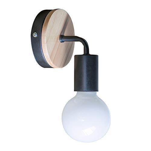 OYGROUP Loft Lampe murale noire Simplicity E27 LED Applique murale en fer et en bois pour salle des enfants Chambre Bar Hôtel (sans ampoule)
