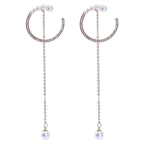 Gymqian Pendientes de Perlas Imitadas Pendientes Largos Femeninos Imitados Pendientes de Aro de Diamante Imitado Orejas Simples Retro/B