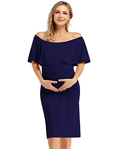 MissQee Maternity Dress Over The Shoulder Maternity Dress Casual Maxi Dress (L,...